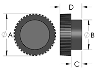 K1 Knurled Knob Line Drawing