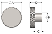 Metal Knurled Knob Line Drawing